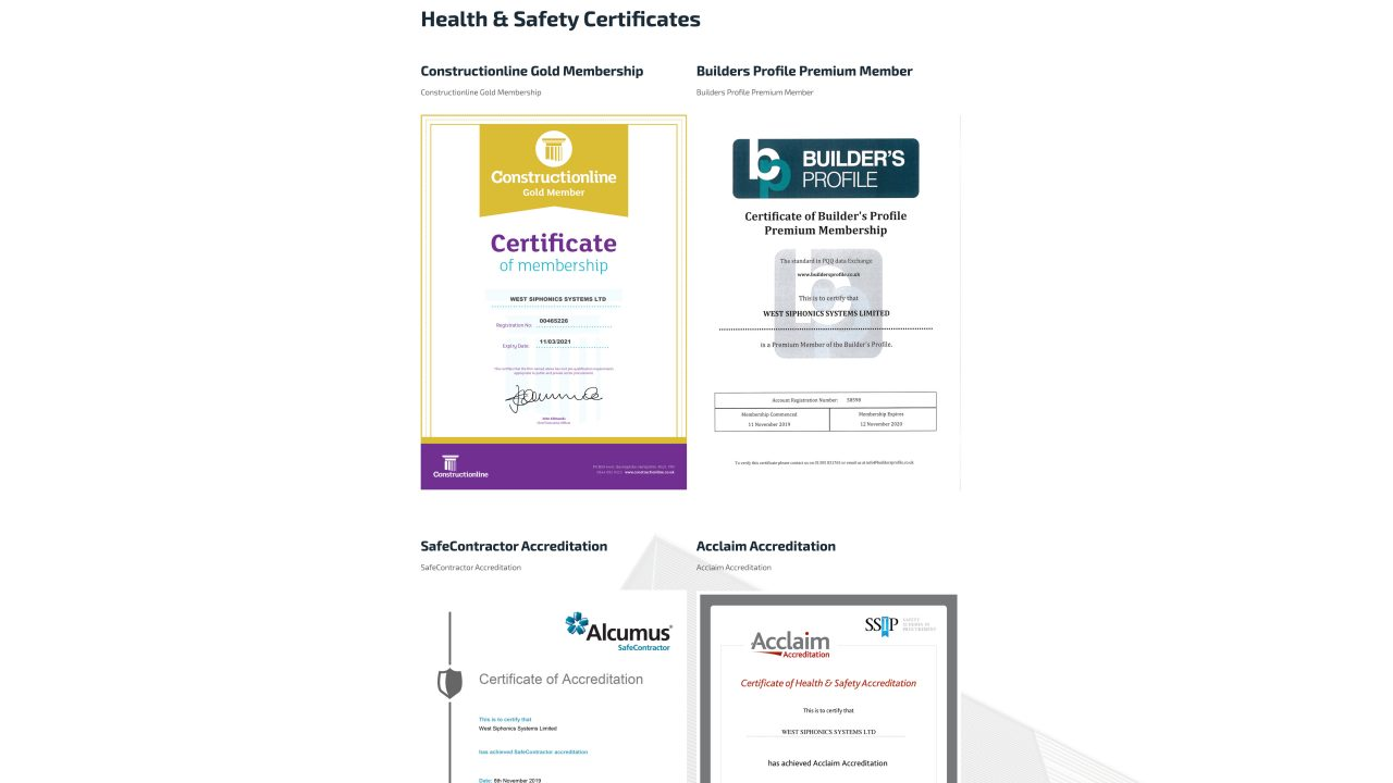 Accreditations West Siphonics Systems